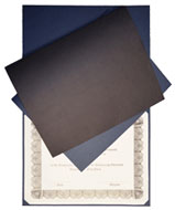 blue and black textured linen paper certificate covers