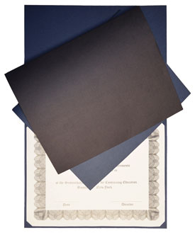 blue and black textured linen diploma cover