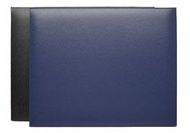 black and navy diploma cases with page protectors included
