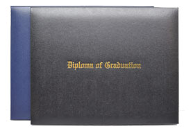 blue and black leatherette diploma cases with gold imprinting